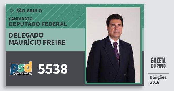 Santinho Delegado Maurício Freire 5538 (PSD) Deputado Federal | São Paulo | Eleições 2018