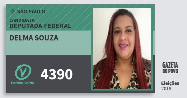Santinho Delma Souza 4390 (PV) Deputada Federal | São Paulo | Eleições 2018