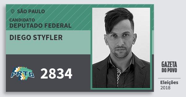 Santinho Diego Styfler 2834 (PRTB) Deputado Federal | São Paulo | Eleições 2018