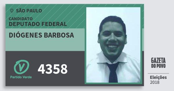 Santinho Diógenes Barbosa 4358 (PV) Deputado Federal | São Paulo | Eleições 2018