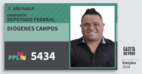 Santinho Diógenes Campos 5434 (PPL) Deputado Federal | São Paulo | Eleições 2018