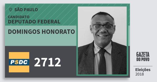 Santinho Domingos Honorato 2712 (DC) Deputado Federal | São Paulo | Eleições 2018