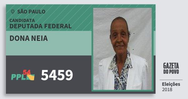 Santinho Dona Neia 5459 (PPL) Deputada Federal | São Paulo | Eleições 2018