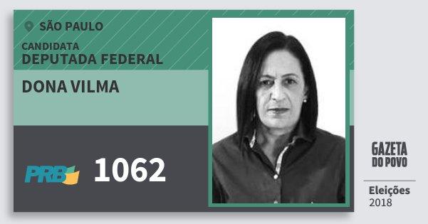 Santinho Dona Vilma 1062 (PRB) Deputada Federal | São Paulo | Eleições 2018