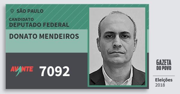 Santinho Donato Mendeiros 7092 (AVANTE) Deputado Federal | São Paulo | Eleições 2018