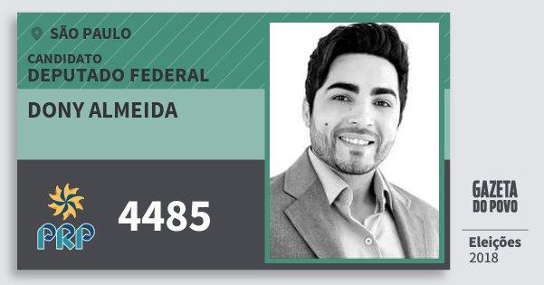Santinho Dony Almeida 4485 (PRP) Deputado Federal | São Paulo | Eleições 2018