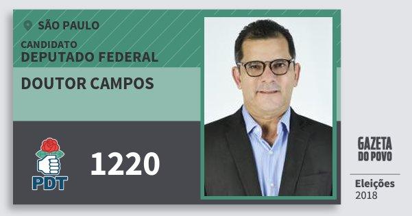 Santinho Doutor Campos 1220 (PDT) Deputado Federal | São Paulo | Eleições 2018