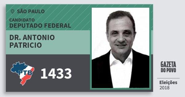 Santinho Dr. Antonio Patricio 1433 (PTB) Deputado Federal | São Paulo | Eleições 2018