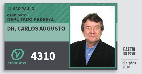 Santinho Dr, Carlos Augusto 4310 (PV) Deputado Federal | São Paulo | Eleições 2018