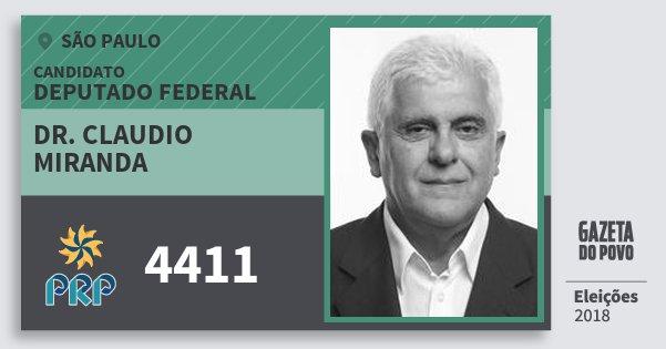 Santinho Dr. Claudio Miranda 4411 (PRP) Deputado Federal | São Paulo | Eleições 2018
