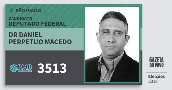 Santinho Dr Daniel Perpetuo Macedo 3513 (PMB) Deputado Federal | São Paulo | Eleições 2018