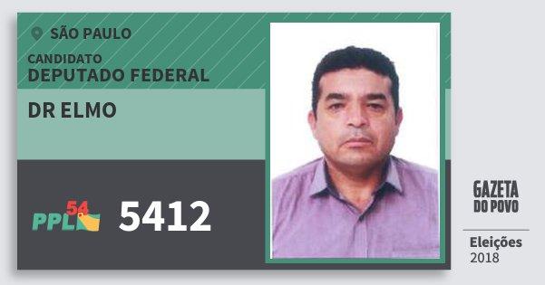 Santinho Dr Elmo 5412 (PPL) Deputado Federal | São Paulo | Eleições 2018