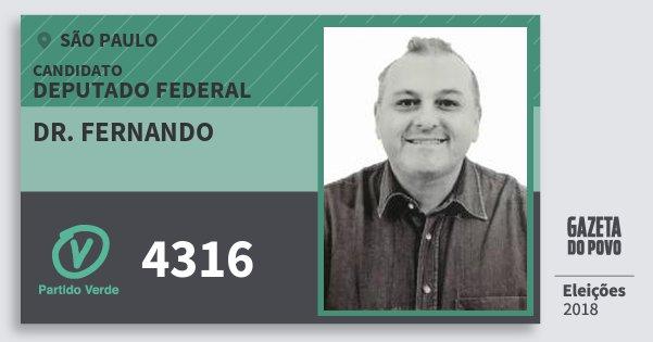 Santinho Dr. Fernando 4316 (PV) Deputado Federal | São Paulo | Eleições 2018