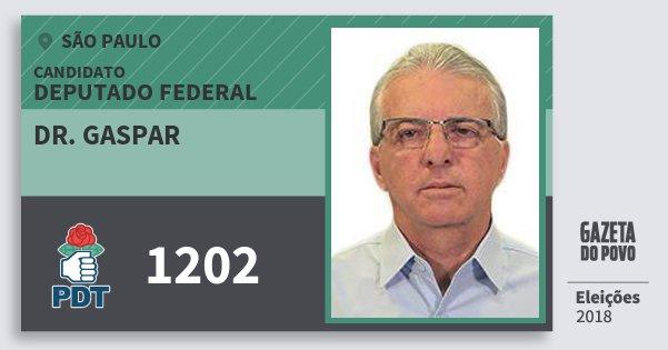 Santinho Dr. Gaspar 1202 (PDT) Deputado Federal | São Paulo | Eleições 2018