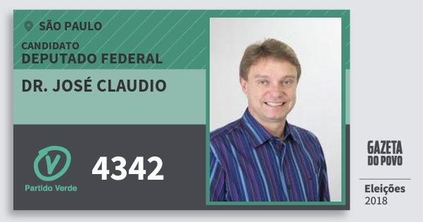Santinho Dr. José Claudio 4342 (PV) Deputado Federal | São Paulo | Eleições 2018