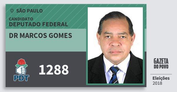Santinho Dr Marcos Gomes 1288 (PDT) Deputado Federal | São Paulo | Eleições 2018