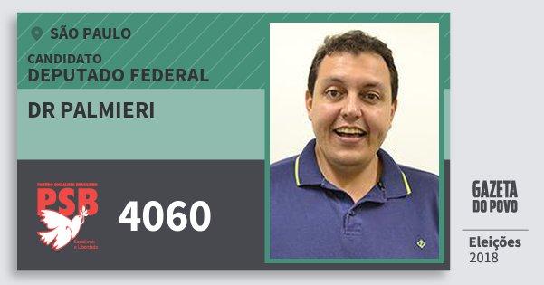 Santinho Dr Palmieri 4060 (PSB) Deputado Federal   São Paulo   Eleições 2018