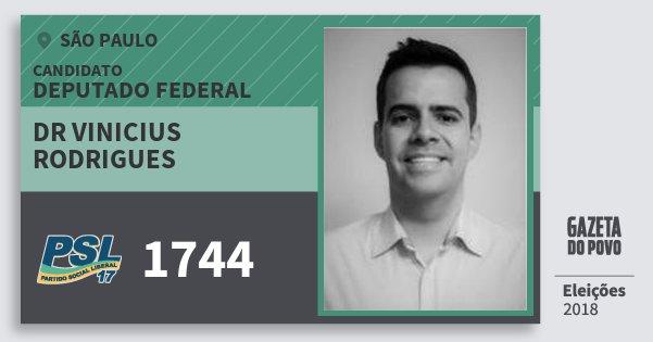 Santinho Dr Vinicius Rodrigues 1744 (PSL) Deputado Federal | São Paulo | Eleições 2018