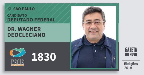 Santinho Dr. Wagner Deocleciano 1830 (REDE) Deputado Federal | São Paulo | Eleições 2018