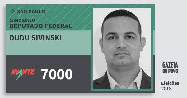 Santinho Dudu Sivinski 7000 (AVANTE) Deputado Federal | São Paulo | Eleições 2018