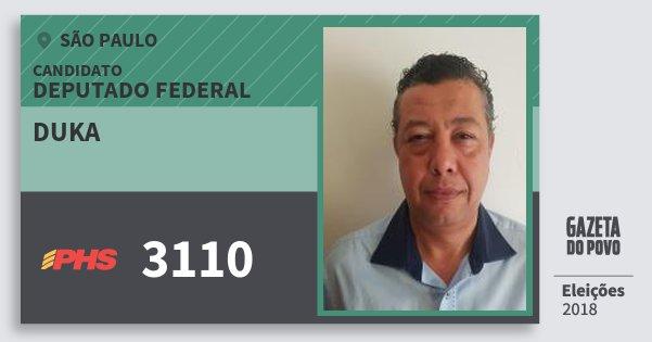 Santinho Duka 3110 (PHS) Deputado Federal | São Paulo | Eleições 2018