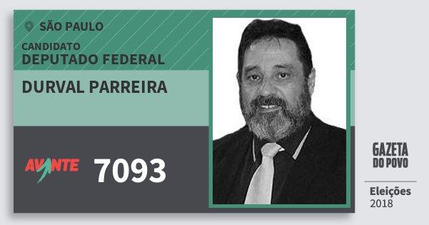 Santinho Durval Parreira 7093 (AVANTE) Deputado Federal | São Paulo | Eleições 2018