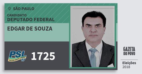Santinho Edgar de Souza 1725 (PSL) Deputado Federal | São Paulo | Eleições 2018