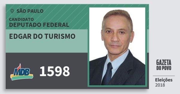 Santinho Edgar do Turismo 1598 (MDB) Deputado Federal | São Paulo | Eleições 2018