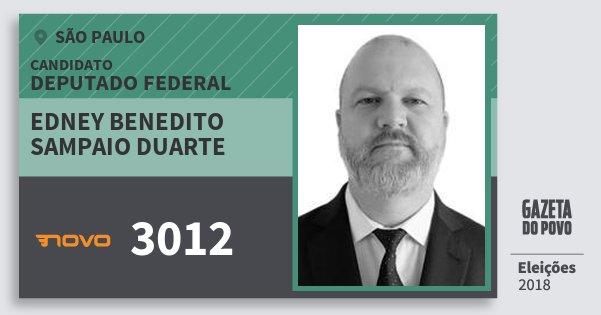 Santinho Edney Benedito Sampaio Duarte 3012 (NOVO) Deputado Federal | São Paulo | Eleições 2018