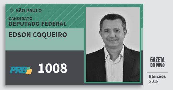 Santinho Edson Coqueiro 1008 (PRB) Deputado Federal | São Paulo | Eleições 2018