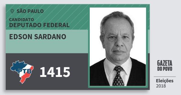 Santinho Edson Sardano 1415 (PTB) Deputado Federal | São Paulo | Eleições 2018