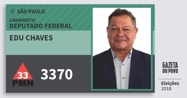 Santinho Edu Chaves 3370 (PMN) Deputado Federal | São Paulo | Eleições 2018