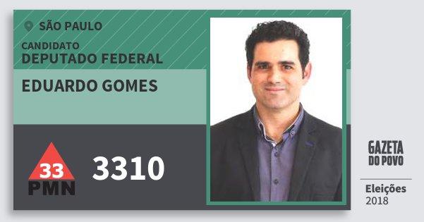 Santinho Eduardo Gomes 3310 (PMN) Deputado Federal | São Paulo | Eleições 2018