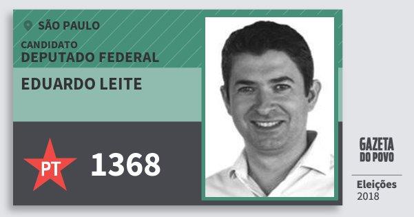 Santinho Eduardo Leite 1368 (PT) Deputado Federal | São Paulo | Eleições 2018