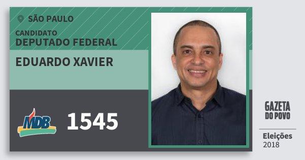 Santinho Eduardo Xavier 1545 (MDB) Deputado Federal | São Paulo | Eleições 2018