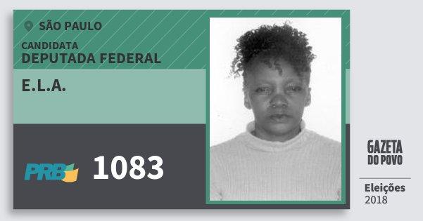 Santinho E.l.a. 1083 (PRB) Deputada Federal | São Paulo | Eleições 2018