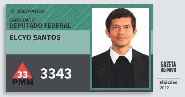 Santinho Elcyo Santos 3343 (PMN) Deputado Federal | São Paulo | Eleições 2018