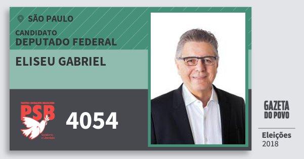 Santinho Eliseu Gabriel 4054 (PSB) Deputado Federal | São Paulo | Eleições 2018