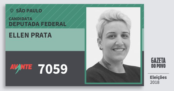 Santinho Ellen Prata 7059 (AVANTE) Deputada Federal | São Paulo | Eleições 2018