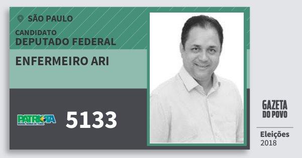 Santinho Enfermeiro Ari 5133 (PATRI) Deputado Federal | São Paulo | Eleições 2018