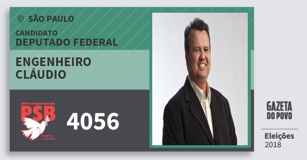 Santinho Engenheiro Cláudio 4056 (PSB) Deputado Federal | São Paulo | Eleições 2018