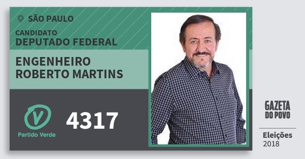 Santinho Engenheiro Roberto Martins 4317 (PV) Deputado Federal | São Paulo | Eleições 2018
