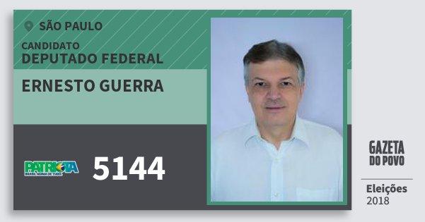 Santinho Ernesto Guerra 5144 (PATRI) Deputado Federal | São Paulo | Eleições 2018