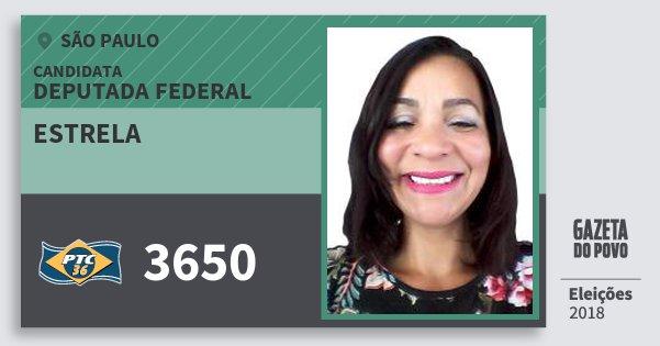 Santinho Estrela 3650 (PTC) Deputada Federal | São Paulo | Eleições 2018