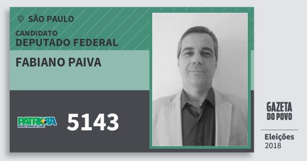 Santinho Fabiano Paiva 5143 (PATRI) Deputado Federal | São Paulo | Eleições 2018