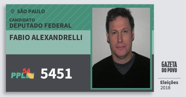 Santinho Fabio Alexandrelli 5451 (PPL) Deputado Federal | São Paulo | Eleições 2018