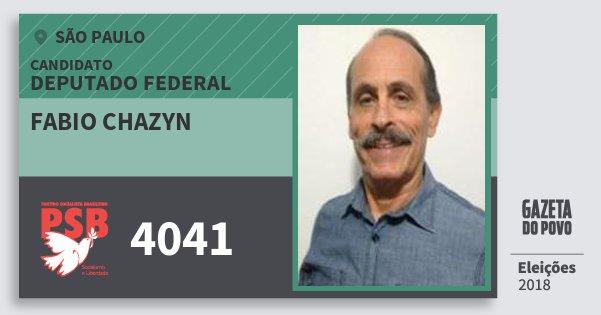 Santinho Fabio Chazyn 4041 (PSB) Deputado Federal | São Paulo | Eleições 2018