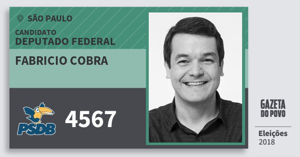 Santinho Fabricio Cobra 4567 (PSDB) Deputado Federal | São Paulo | Eleições 2018
