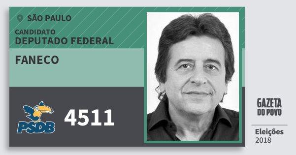 Santinho Faneco 4511 (PSDB) Deputado Federal | São Paulo | Eleições 2018