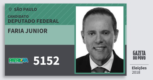 Santinho Faria Junior 5152 (PATRI) Deputado Federal | São Paulo | Eleições 2018